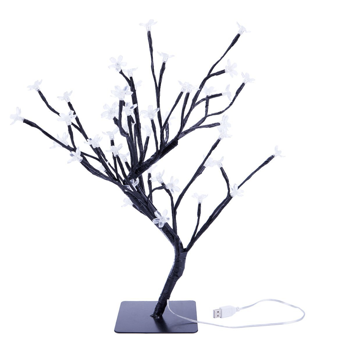 SODIAL 18 Inch Cherry Blossom Bonsai Tree, 48 LED Lights, Warm White Lights, Ideal as Night Lights, Home Gift Idea