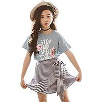 3-14 Años,SO-buts Bebés Niñas Letra Floral Rose Tops Camisetas Stripe Bind Falda Trajes Ropa Casual De Verano Conjunto…