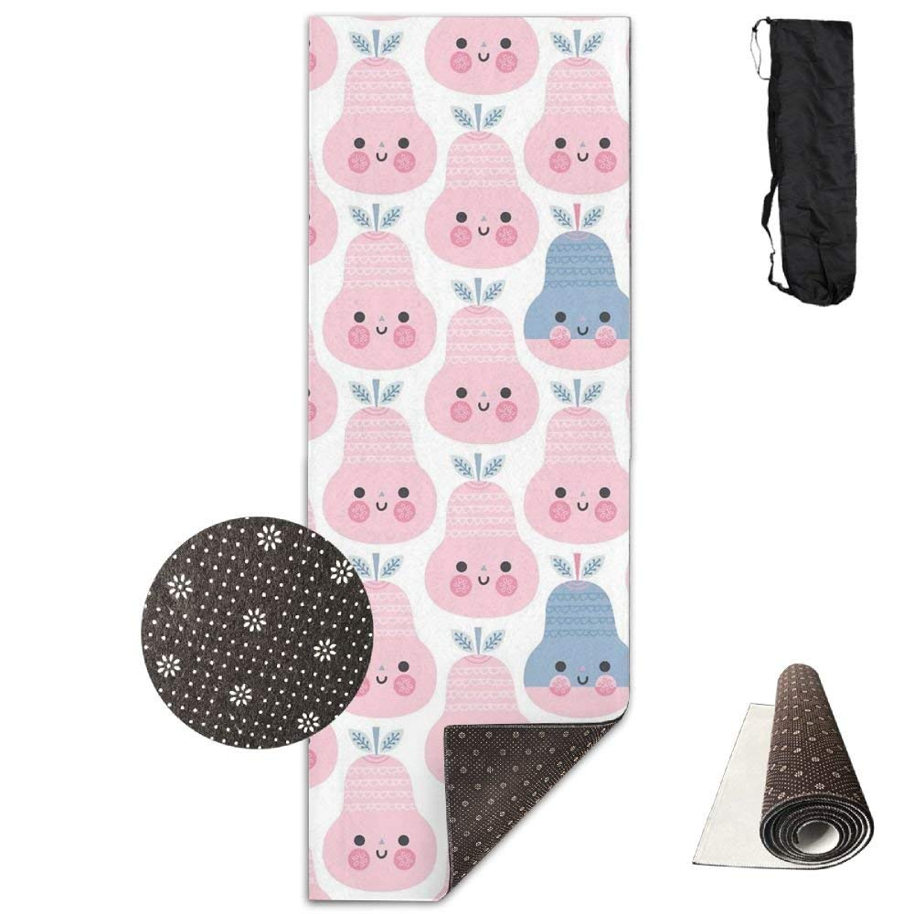 Non Slip Yoga Mat,Pinkie Pear 3D Print 71X24 Inch Velvet with Carrying Strap