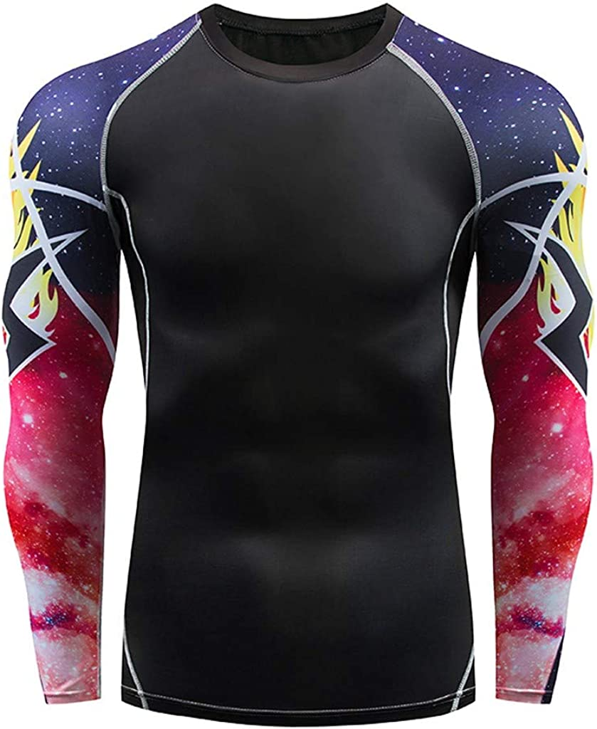 Yajiemen Mens Casual Fitness Fast Drying Elastic Breathable Sports Tight Long Sleeve Tops