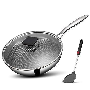 Wok De Acero Inoxidable Cocina Antiadherente Pan-inducción Estufa De Gas Estufa De Gas Universal Honeycomb Pot 24CM / 28CM / 30CM JINRONG (Tamaño : 24cm): ...