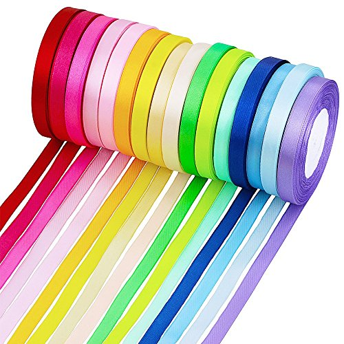Supla 16 Colors 400 Yard Fabric Ribbon Silk Satin Roll Satin Ribbon Rolls in 2/5 Wide, 25 Yard/roll,16 rolls,Satin Ribbon...