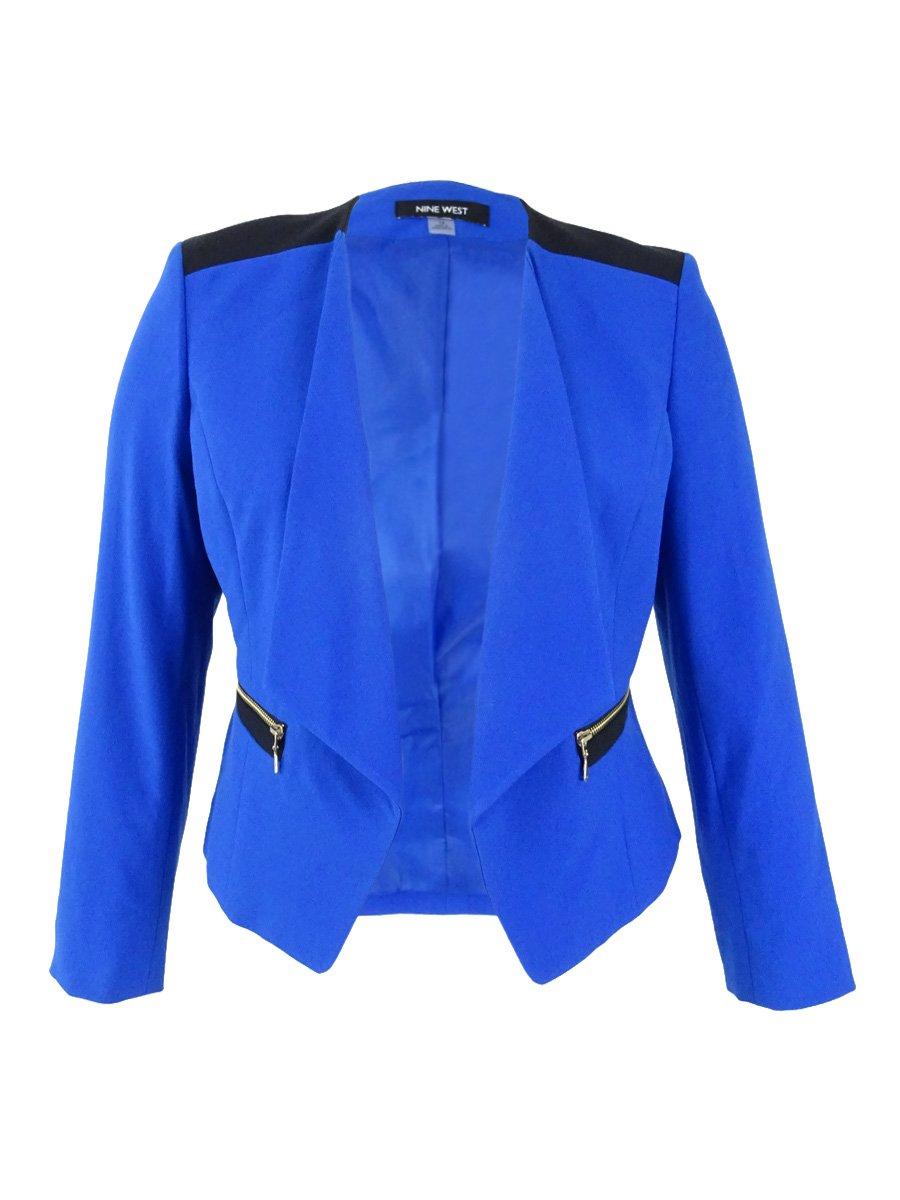 Nine West Women's Plus Size Open-Front Blazer (22W, Blue Mood/Black)