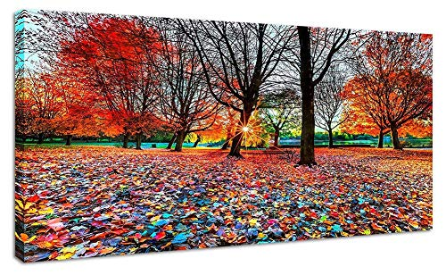 - Large Wall Art Landscape Living Room Wall Decoration Canvas Prints Red Park Forest Leaves Picture Bedroom 20x40 Artwork Framed Ready to Hang for Home Salon