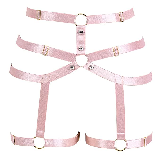 29c2c2d4fdc Image Unavailable. Image not available for. Color  PETMHS Women Pink Body  Harness Garter Belt Stockings Lingerie Elastic Suspender Belt