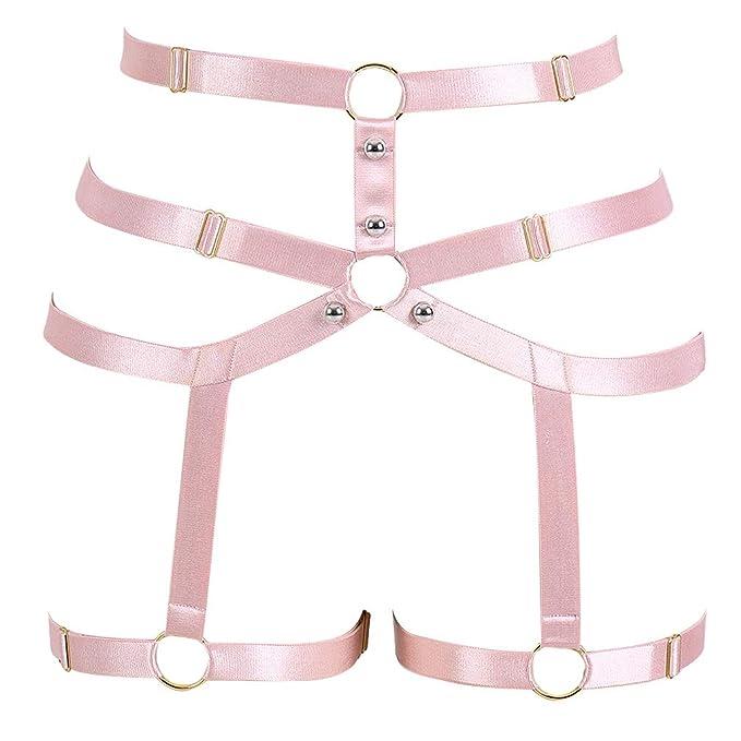 9320b3126 Image Unavailable. Image not available for. Color  PETMHS Women Pink Body  Harness Garter Belt Stockings Lingerie Elastic Suspender Belt