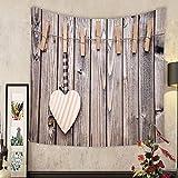 Madeleine Ellis Custom tapestry love concept heart on a string shot on wooden background