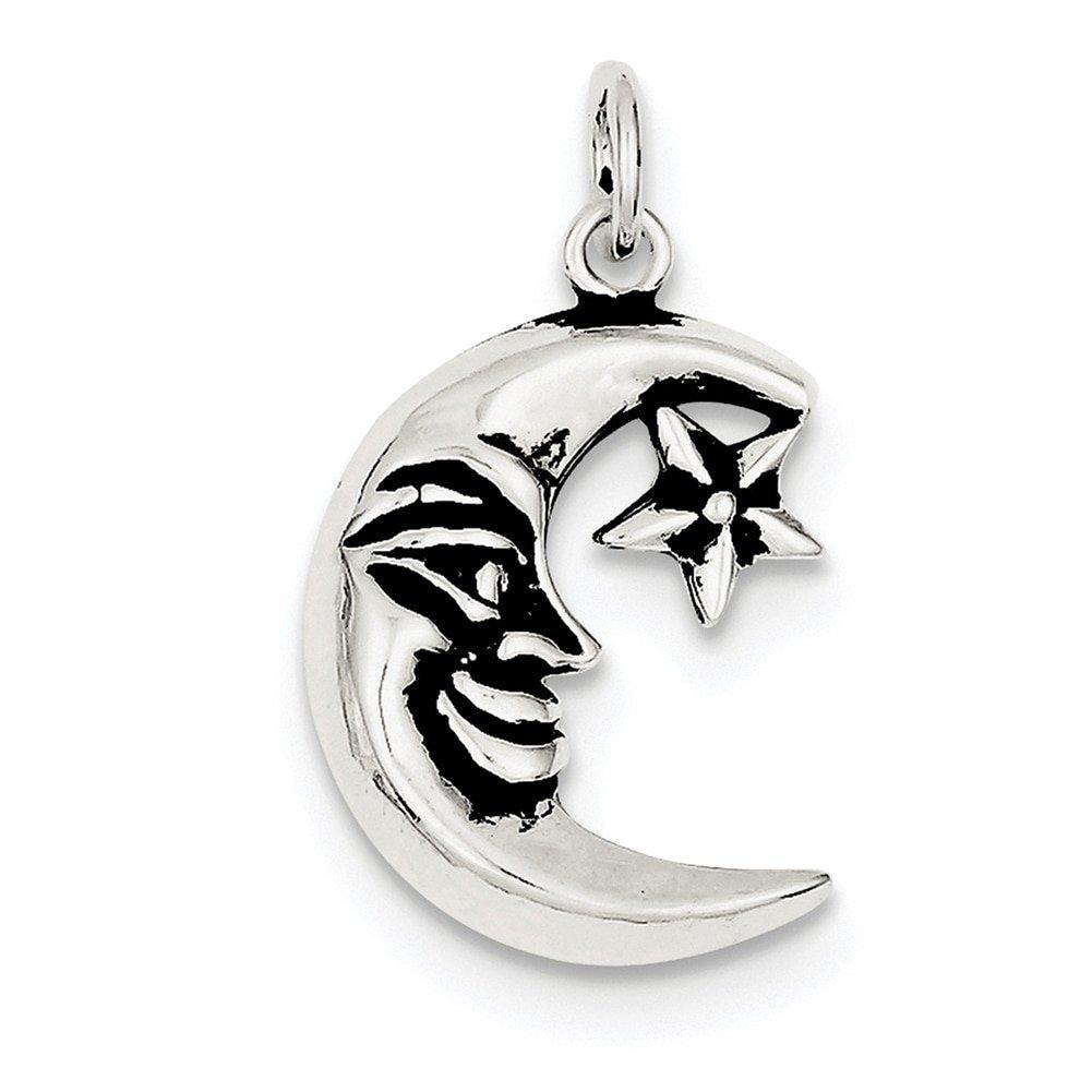 Lex /& Lu Sterling Silver Antiqued Moon Charm LAL106346