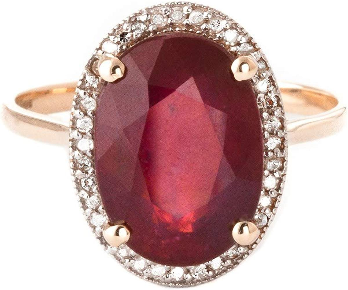 Galaxy Gold 7.93 ct 14k Solid Rose Gold Ring Oval-Shaped Ruby Diamonds - Size 5.5