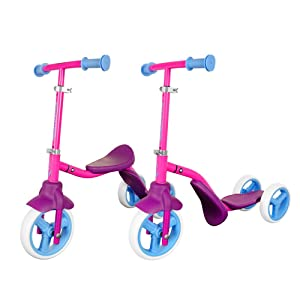 Swagtron K2 Toddler 3 Wheel Scooter & Ride-On Balance Trike 2-in-1 Adjustable for 2, 3, 4, 5 Year Old Boy or Girl Transforms in Seconds