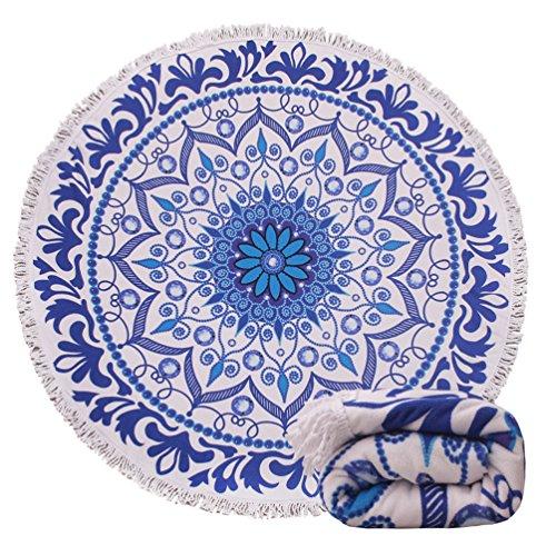 Genovega (24 Options Thick Round Beach Towel Blanket  Blue Boho Mandala Terry Circle Circular