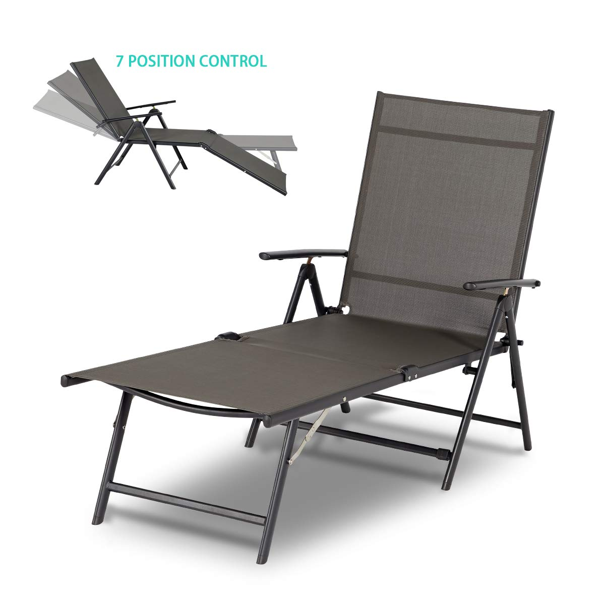 - Esright Outdoor Chaise Lounge Chair, Folding Textiline Reclining