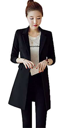 42cad8a86c910 SHUNYI スーツ レディース テーラードジャケット スリム 無地 ビジネス 1つボタン シンプル オフィス ロング丈 スーツ