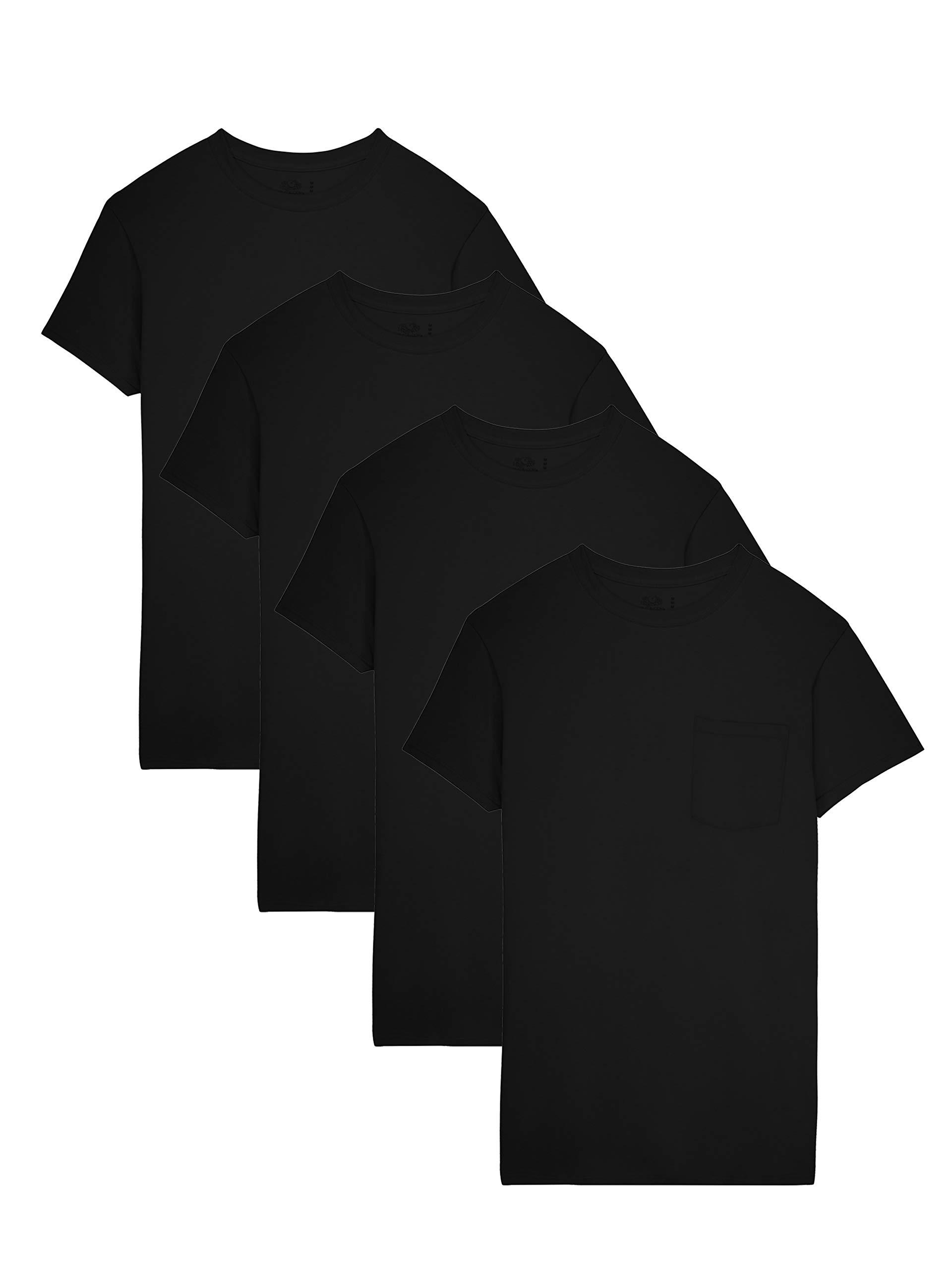 Fruit of the Loom Men's  Pocket Crew Neck T-Shirt (Pack of 4), Black, XX-Large
