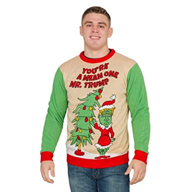 Grinch Christmas Sweater.You Re A Mean One Mr Trump Grinch Adult Ugly Christmas Sweater