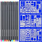 Chukchi Journal Stencil and Pens, Plastic Planner Supplies Journal Notebook Diary Scrapbook 12 pieces DIY Drawing Template 4x7 Inch & 10 color fineliner bullet journal pens