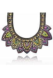 Bohemaian Acrylic Beads Fabric Choker Chunky Collar Statement Necklace
