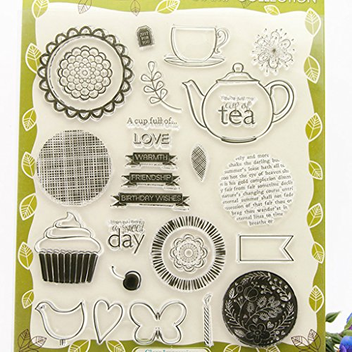 ❤JaneMo New Arriving Clear Stamps Teapot Ice Cream Transparent Silicone Clear Rubber Stamp Cling Diary Scrapbooking DIY Art Craft Decoration ()