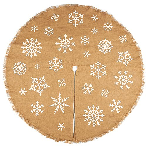 Juvale 60-Inch Christmas Tree Skirt - Circular Burlap Xmas Tree Decoration, Snowflake-Themed Christmas Tree Decor, Brown (60 Skirt Christmas Tree Inch)
