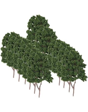 20pcs Modelo Árboles Plástico Decoración para Paisaje Ferroviario de Tren 7.5cm -Verde Oscuro