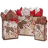 Woodland Berry Pine Paper Shopping Bag Assortment - 125 Pieces
