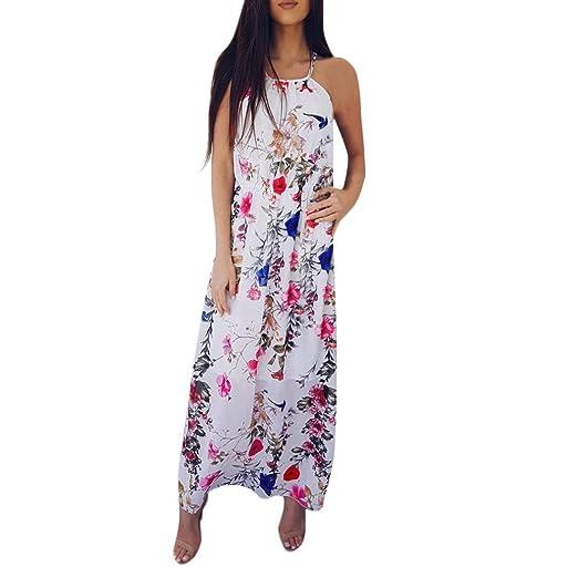 d94e8ce3241 Makaor Women Flower Print Sleeveless Sexy Long Party Dress Summer Backless  Beach Sundress (Red