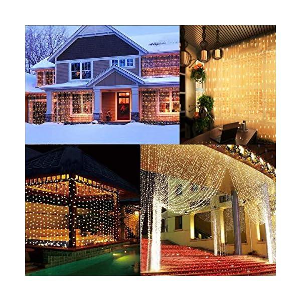 Fenvella Tenda Luci, 3m*3m Tenda Luminosa con 8 Modalitàcon, 300 Led e IP65 Impermeabile Luci Natale Esterno e Interno Adatto a Balcone, Salotto, Giardino,Terrazza. 6 spesavip