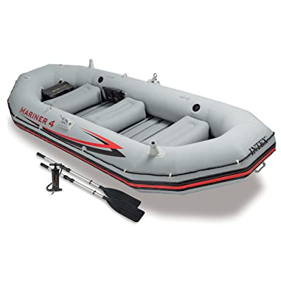 Intex Mariner 4, 4-Person Inflatable Boat Set with Aluminum Oars and High Output Air Pump