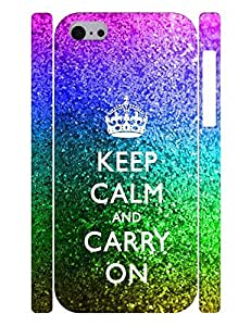 Personalized Series Cell Phone Case With Keep Calm And Crown And Bling Neon Image Drop Proof Case Cover for Iphone 5c by lolosakes