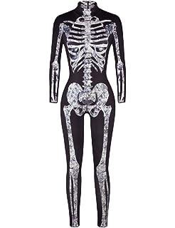 Mujer Esqueleto Ropa Ropa Halloween Vintage Moda Manga Larga High ...