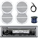 Kenwood in-Dash Marine Boat Audio Bluetooth USB Receiver Bundle Combo with 4x Enrock 6.5 White Dual-Cone Stereo Speakers, Radio Antenna, 16g 50ft Marine Speaker Wire