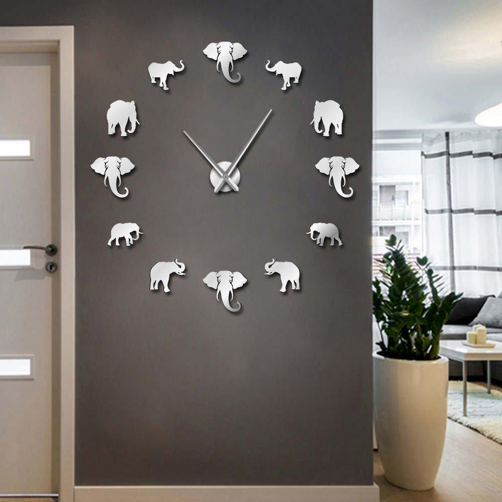 The Geeky Days Jungle Animals Elephant DIY Large Wall Clock Home Decor Modern Design Mirror Effect Giant Frameless Elephants DIY Clock Wall Watch (Silver)