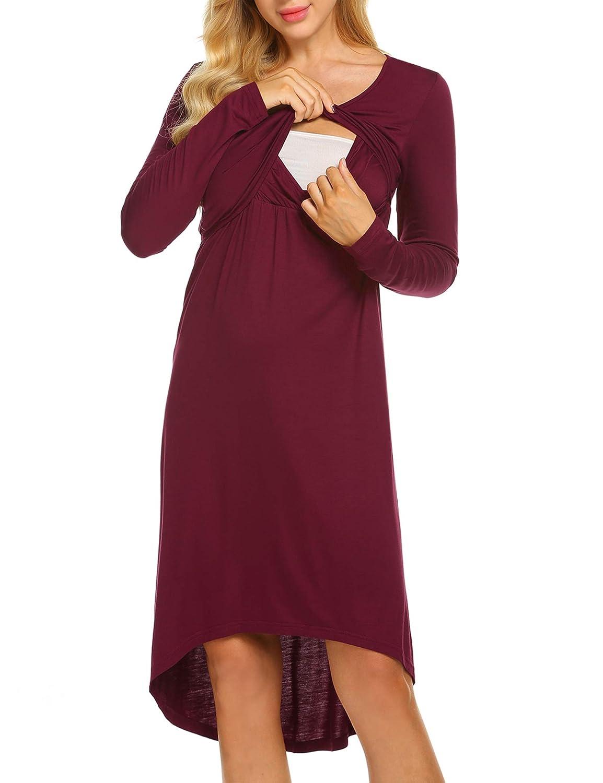 Ekouaer SLEEPWEAR レディース B07G563W2J XX-Large Long Sleeve-wine Red Long Sleeve-wine Red XX-Large