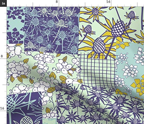 Purple Green Botanical Whole Cloth Cheater Quilt Fabric - Botanical Botanical Plants Flowers Patchwork Retro Hand Drawn Whole Cloth Cheater Quilt Block by Ravynka Printed on Satin Fabric by The Yard