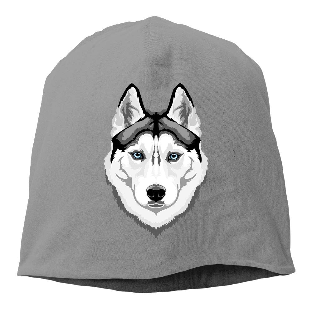 Janeither Headscarf Husky Dog with Blue Eyes Hip-Hop Knitted Hat for Mens Womens Fashion Beanie Cap