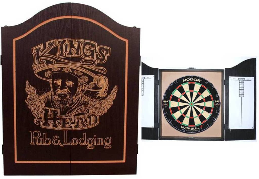 EMPIRE®™ Cabinet Kings Head schwarz inkl. WINMAU Sisal Board + EMPIRE® Dartset