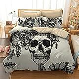 Blooming Flower White Black Moth on Skull Print 3d 3Pcs Bedding Sets Tencel Halloween Duvet Cover Sets Queen size (2, Queen)