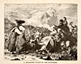 1881 Wood Engraving Wrestling Match Landscape Hasleberg Switzerland Crowd People - Original Wood Engraving