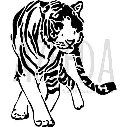Azeeda A5 Walking Tiger Wall Stencil Template