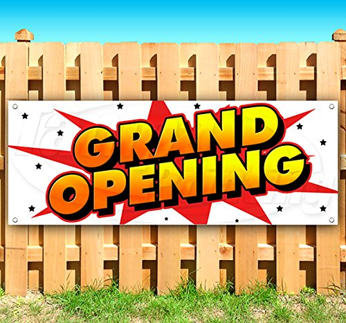 Grand Opening 13 oz Heavy Duty Vinyl Banner Sign with Metal Grommets, New, Store, Advertising, Flag, (Many Sizes Available) (Banner Opening Outdoor)
