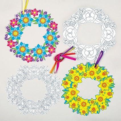 Baker Ross Decoraciones Creativas de Coronas de Flores para Colorear ...