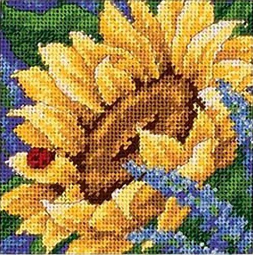 Dimensions Needlepoint Kit, Sunflower and Ladybug Floral Needlepoint, 5