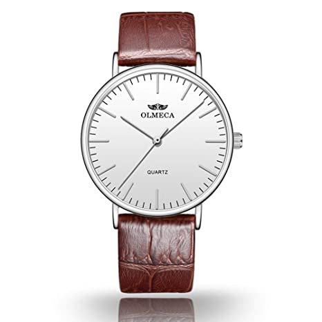 Amazon.com: OLMECA Womens Watches Luxury Wristwatches 36mm Simple Dial - Replaceable Multi-Color Striped - White Color: Watches