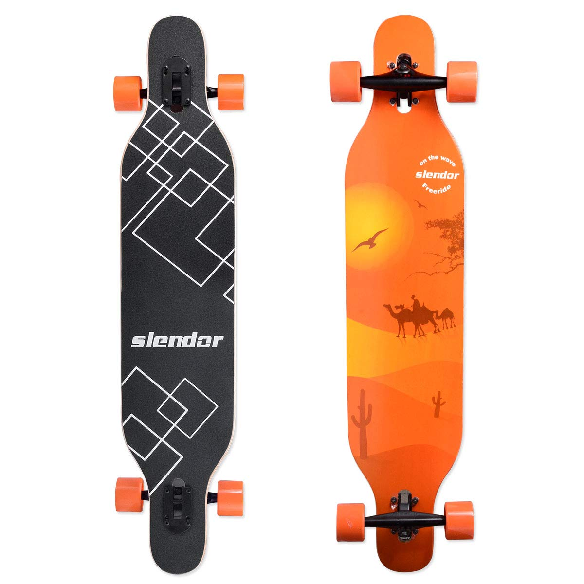 slendor Longboard Skateboard 42 inch Drop Through Deck Complete Maple Cruiser Freestyle, Camber Concave by slendor
