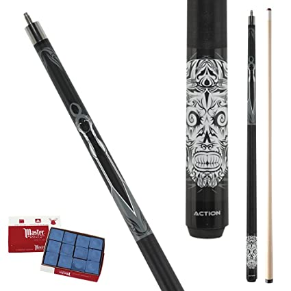 Action Calavera CAL01 Tribal Skeleton Pool Cue Stick with 12 pieces of Master Billiard Chalk (