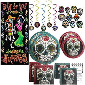 Dia De Los Muertos Mask Decorations Party Supplies Set Kit Indoor Outdoor Decor Door Cover Day of the Dead Plates Napkins Whirls Cutouts Recipe (81 Pieces) Serves 16