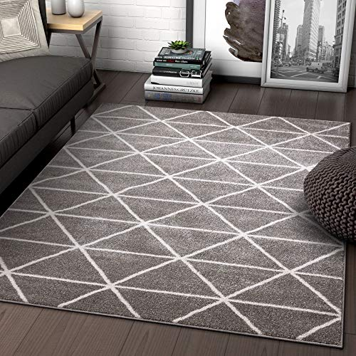 (Well Woven Menage Geometric Grey Modern Triangle Tiles Shapes Lines Area Rug 8x11 (7'10