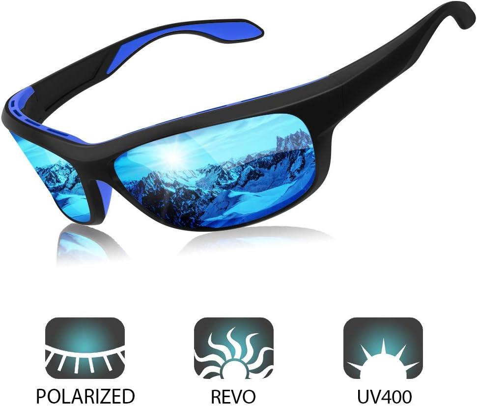 Elegear Gafas de Sol Hombre Polarizadas Gafas deportivas Súper Ligero y Cómodo Anti UVA UV Marco TR90 Lente Espejo con REVO Gafas hombre y mujer Ciclismo MTB Running Coche Moto Montaña (Blue):