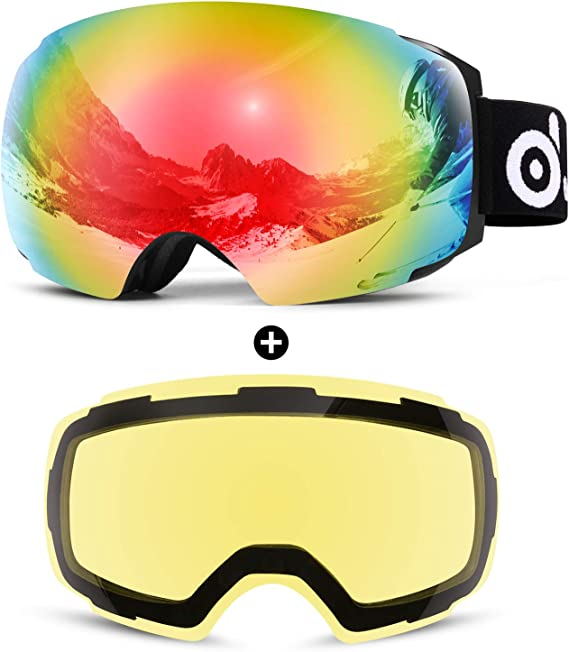 Odoland Magnetic Interchangeable Ski Goggles with 2 Lens