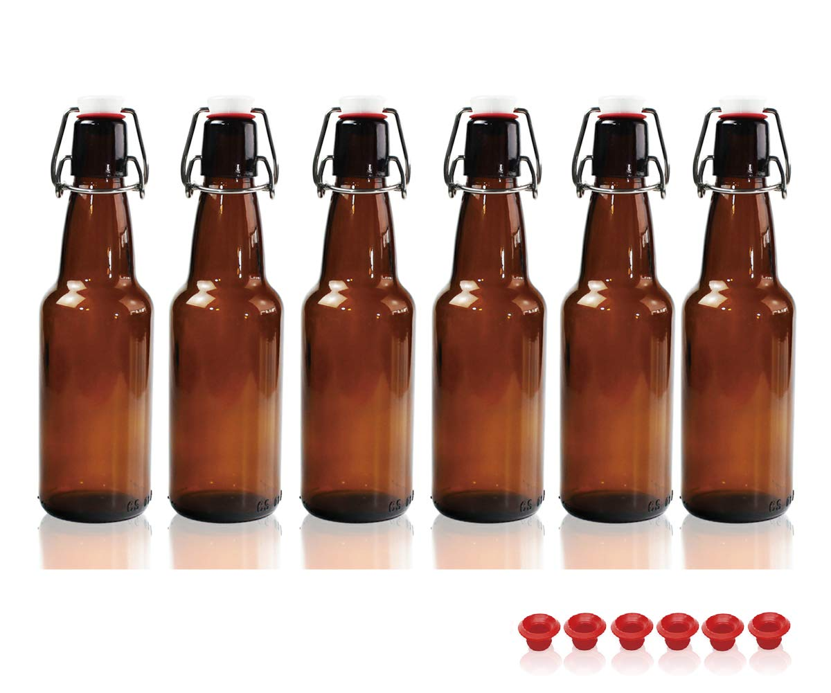 Kware -Swing Top Glass Bottle 16 Oz for Carbonation, Home brewing Amber [Set of 6]